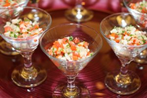 Fresh ceviche served in mini martini glasses.
